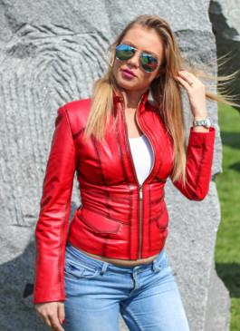 Kožna jakna Julia (crvena melirana)