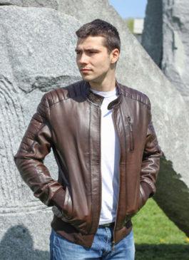 Kožna jakna Becker (tamno braon melirana)