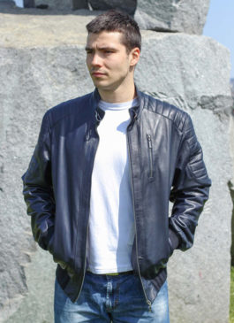 Kožna jakna Becker (teget)