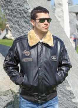 Kožna pilotska jakna Redwood (crna)