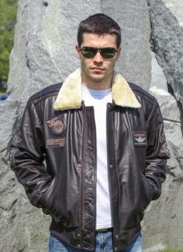 Kožna pilotska jakna Redwood (tamno braon)
