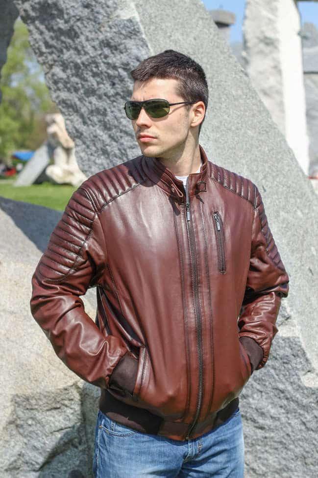 Muška kožna jakna - Bokserica - Becker - Braon melirana