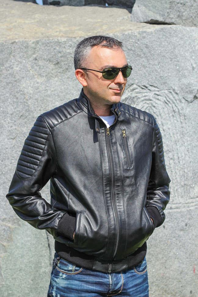 Muška kožna jakna - Bokserica - Becker - Crna