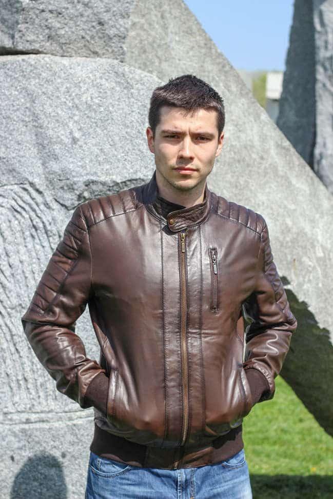 Muška kožna jakna - Bokserica - Becker - Tamno braon melirana