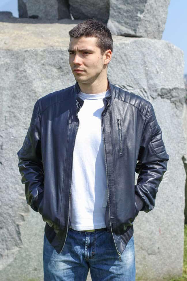 Muška kožna jakna - Bokserica - Becker - Teget
