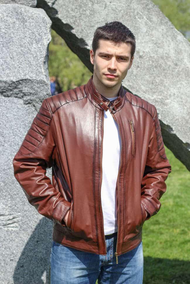 Muška kožna jakna - Boris - Braon melirana
