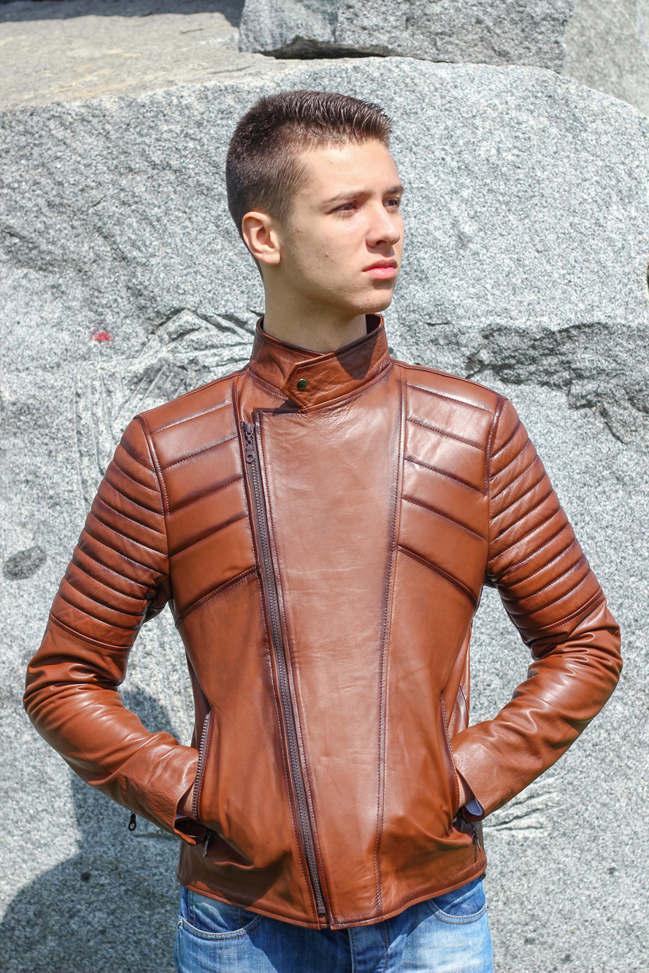 Muška kožna jakna - Victor - Braon melirana
