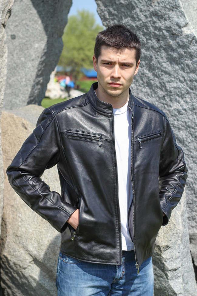 Muška kožna jakna - Alexandar - Crna