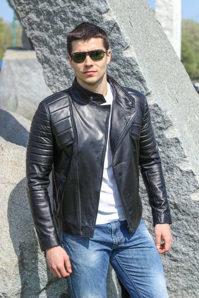 Muška kožna jakna - Victor - Crna