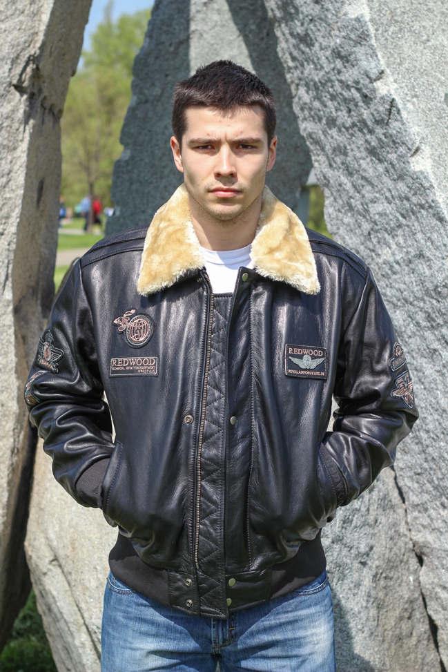 Muška kožna pilotska jakna - Redwood - Crna