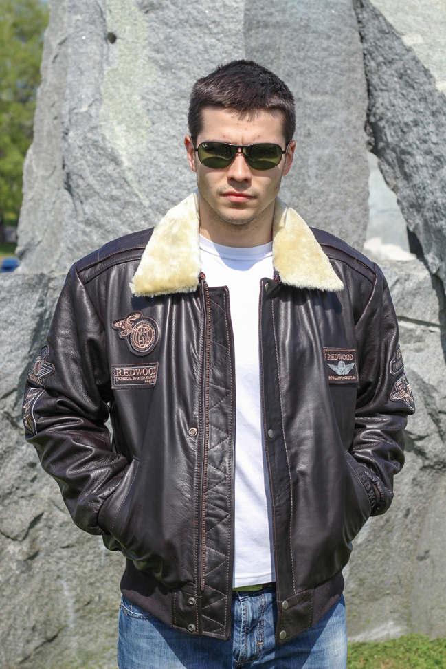 Muška kožna pilotska jakna - Redwood - Tamno braon
