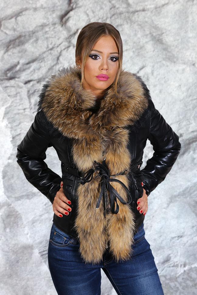 Ženska kožna jakna sa krznom - Frida - Crna, natur krzno