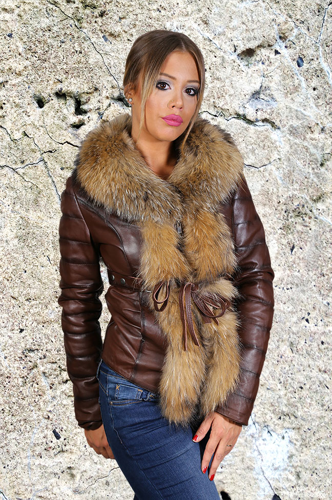Ženska kožna jakna sa krznom - Frida - Tamno braon melirana, natur krzno