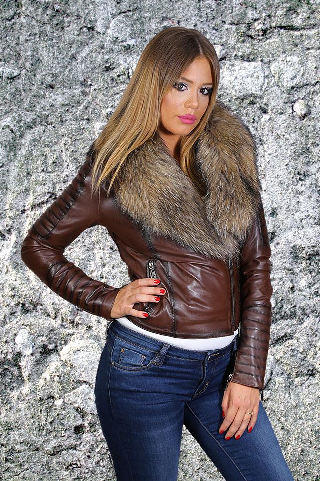 Ženska kožna jakna sa krznom - Paola - Tamno braon melirana, natur krzno