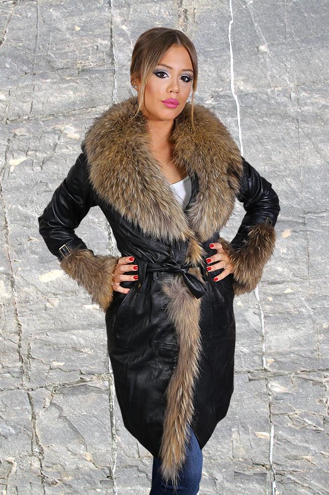 Ženska kožna jakna sa krznom - Sabrina - Crna, natur krzno