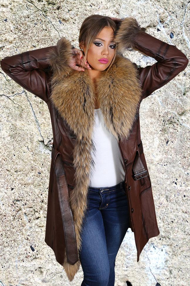Ženska kožna jakna sa krznom - Sabrina - Tamno braon melirana, natur krzno