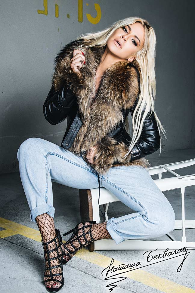 Ženska kožna jakna sa krznom - Vanessa - Crna, natur krzno