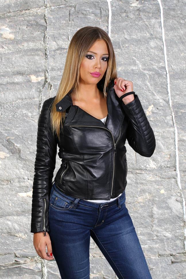 Ženska kožna jakna - Tina – Crna