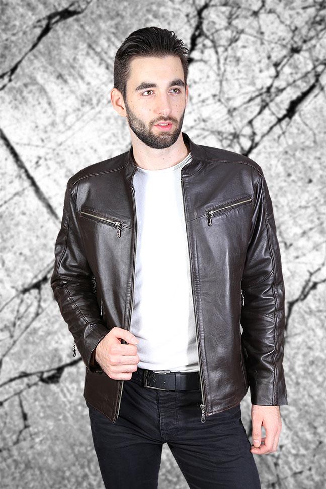 Muška kožna jakna - Alexandar - Tamno braon