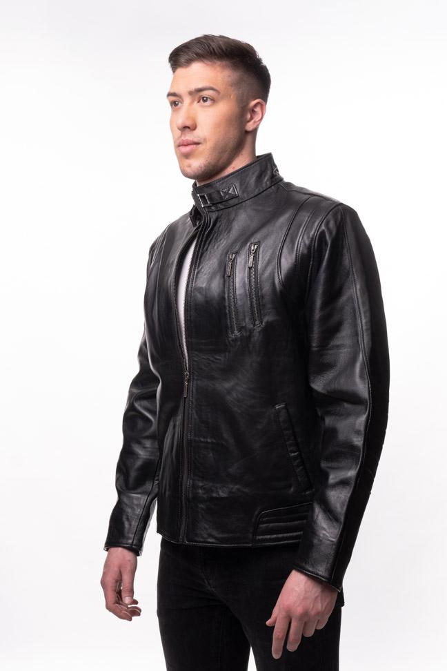 Muška kožna jakna - Bond - Crna