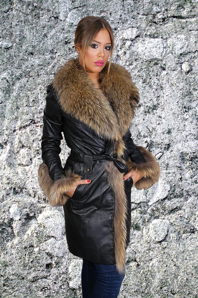 Kožna jakna sa krznom Sabrina crna sa natur krznom