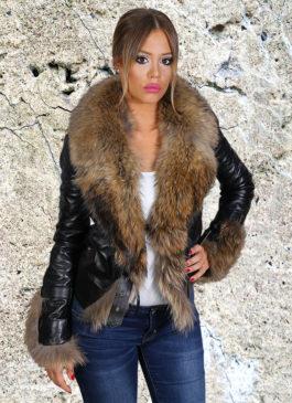 Kožna jakna sa krznom Vanessa (crna)