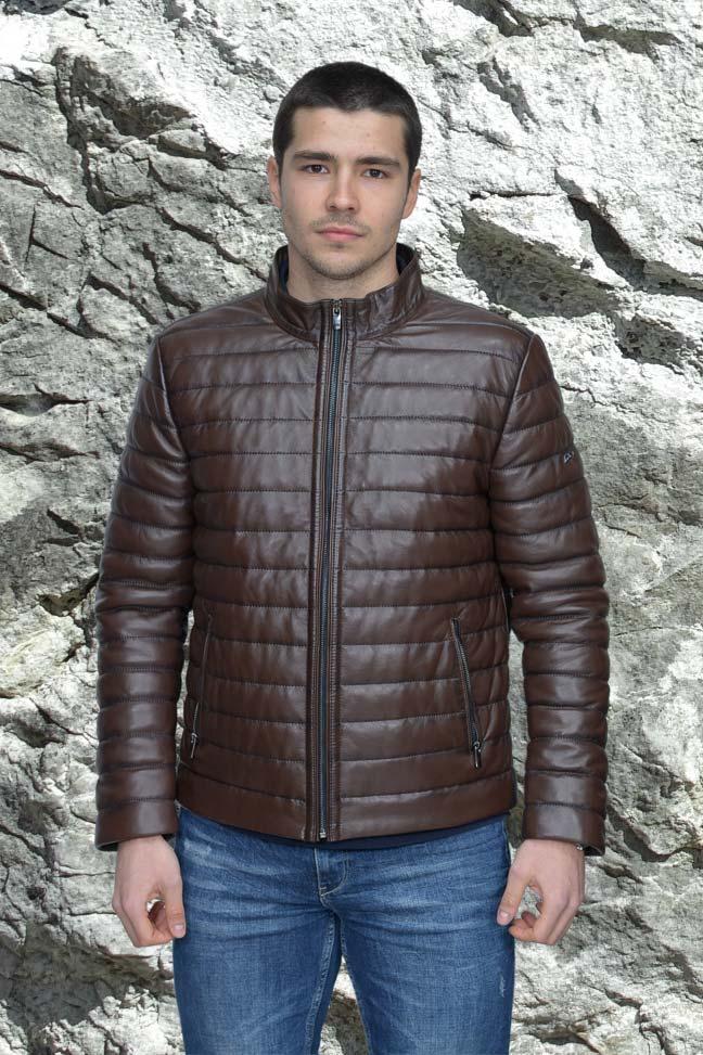 Muška kožna jakna - Kevin - Tamno braon melirana