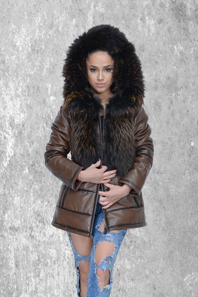 Ženska kožna jakna sa krznom - Susann - Tamno braon melirana, braon krzno