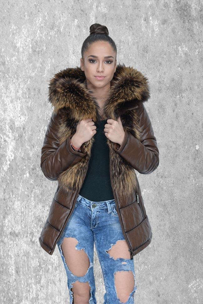 Ženska kožna jakna sa krznom - Susann - Tamno braon melirana, natur krzno