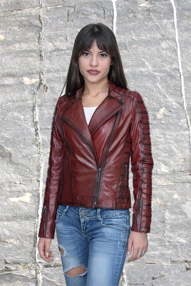 Ženska kožna jakna - Tina – Bordo melirana