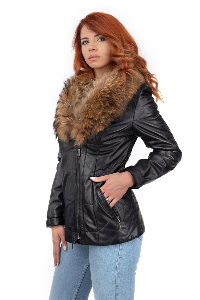 Ženska kožna jakna sa krznom - Allison - Crna, natur krzno