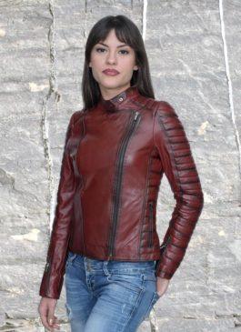 Kožna jakna Tina (bordo melirana)