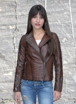Kožna jakna Tina (tamno braon melirana)
