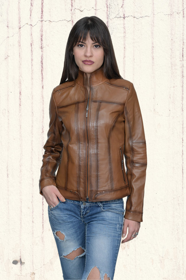 Ženska kožna jakna - Monica – Svetlo braon melirana