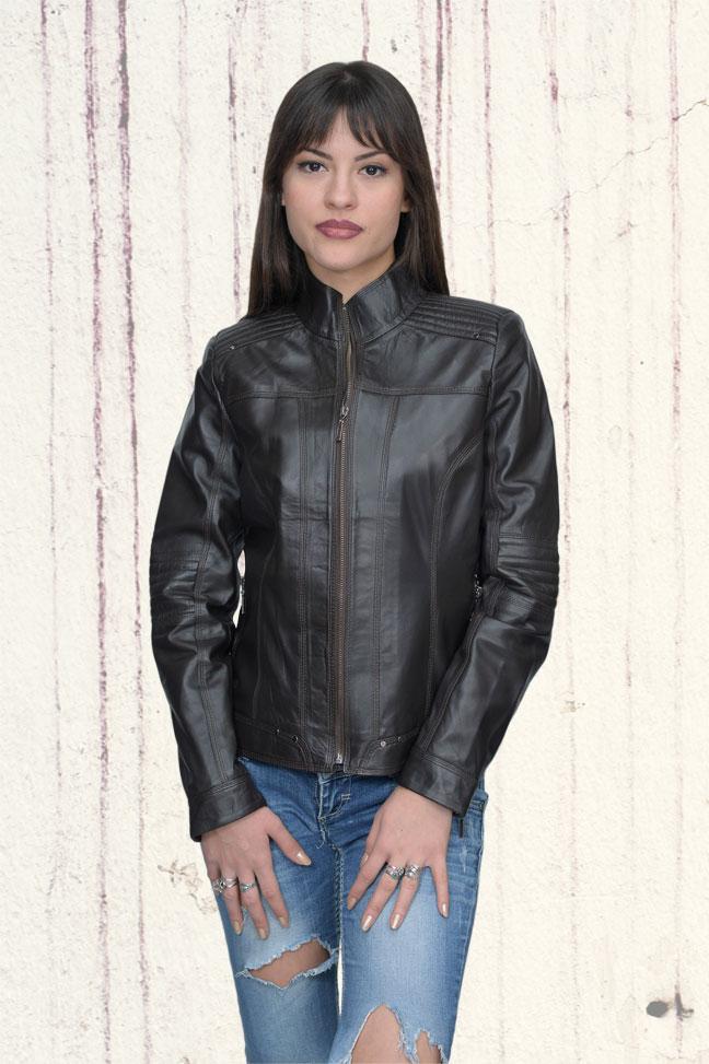 Ženska kožna jakna - Monica – Tamno braon