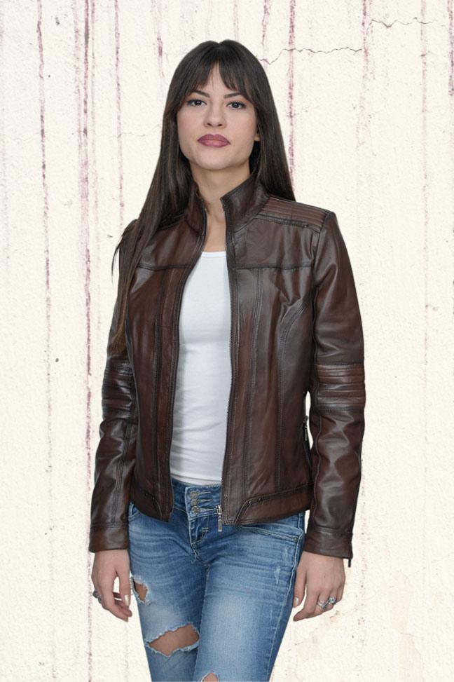 Ženska kožna jakna - Monica – Tamno braon melirana