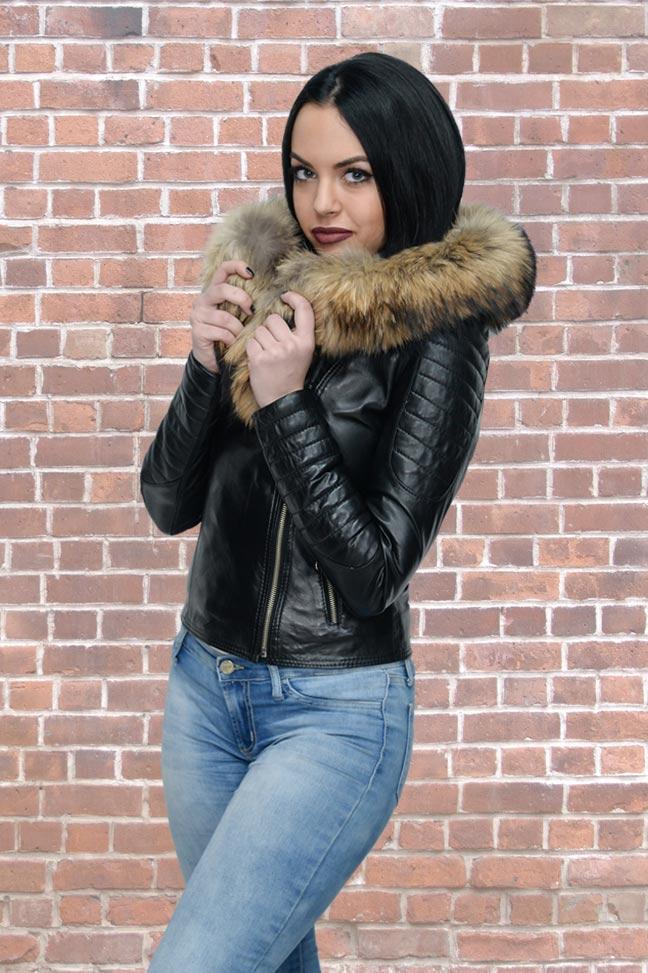 Ženska kožna jakna sa krznom - Nicole - Crna, natur krzno