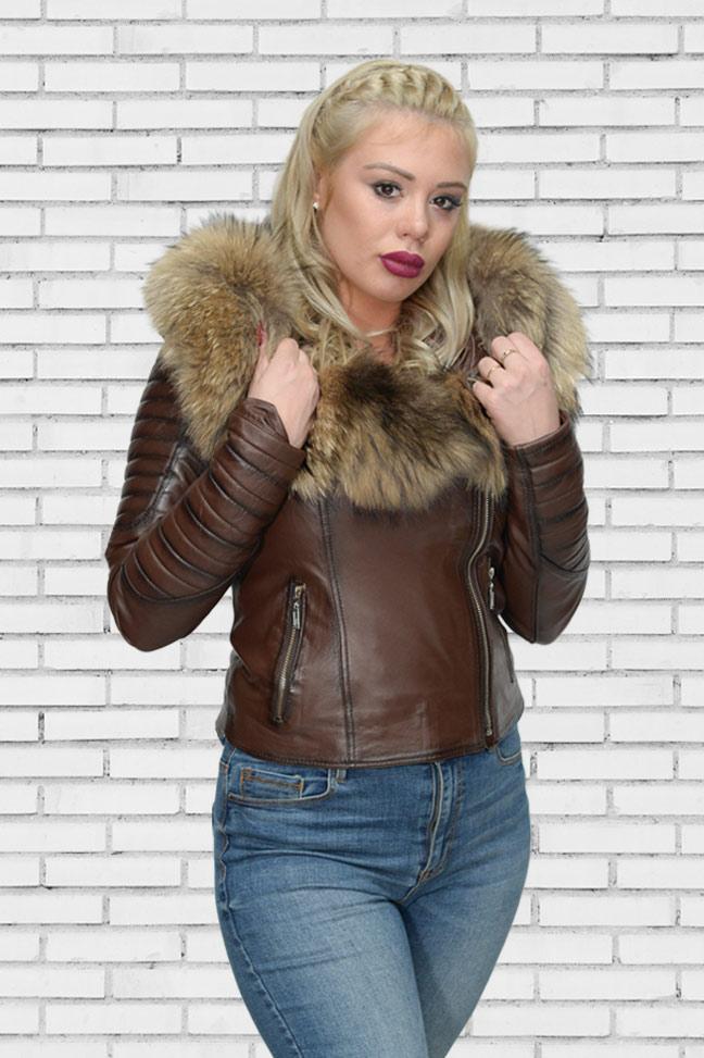 Ženska kožna jakna sa krznom - Nicole - Tamno braon melirana, natur krzno