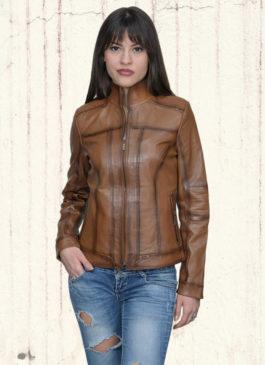 Kožna jakna Monica (svetlo braon melirana)