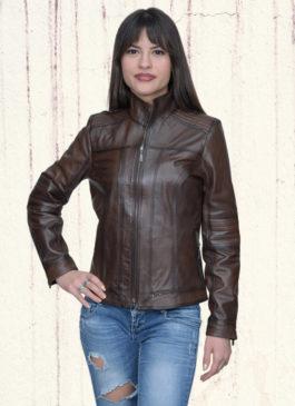 Kožna jakna Monica (tamno braon melirana)