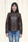 Kožna jakna Monica tamno braon melirana 3