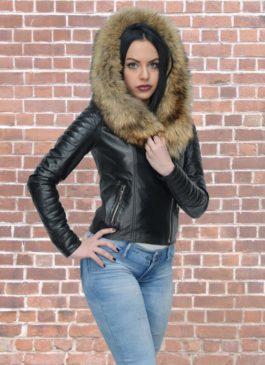 Kožna jakna sa krznom Nicole (crna)