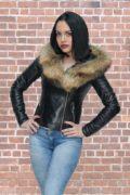 Kožna jakna sa krznom Nicole crna natur krzno 3