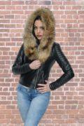 Kožna jakna sa krznom Nicole crna natur krzno 4
