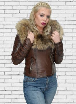 Kožna jakna sa krznom Nicole (tamno braon melirana)