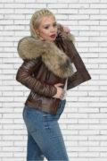 Kožna jakna sa krznom Nicole tamno braon melirana natur krzno 3