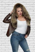 Kožna jakna sa krznom Nicole tamno braon melirana natur krzno 4