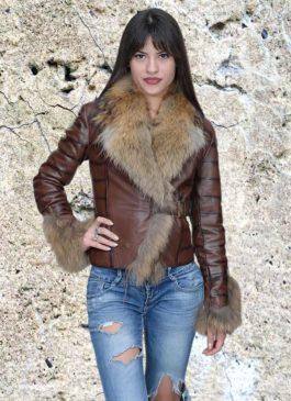 Kožna jakna sa krznom Vanessa (tamno braon melirana)