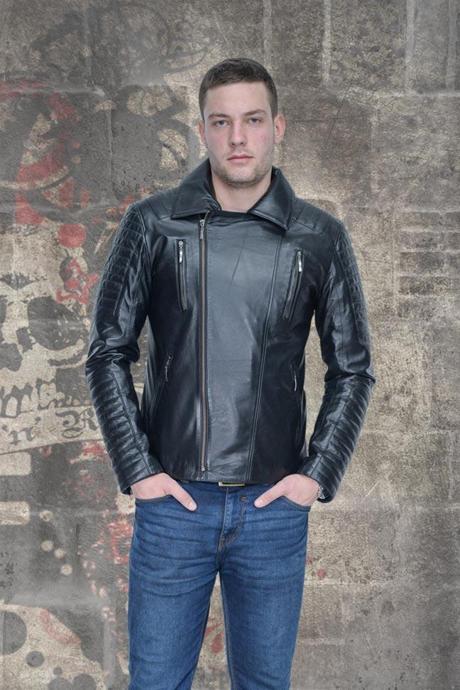 Muška kožna rokerska jakna - Elvis - Crna
