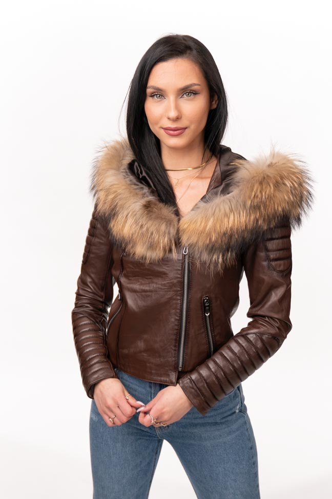 Ženska kožna jakna sa krznom – Nicole – Tamno braon melirana, natur krzno